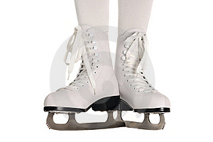 Girl Legs In Ice Skates On White Background Stock Photo - Image: 22502920