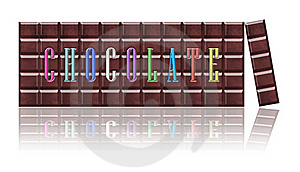 Chocolate Bars With Color Font, Isolated. Stock Photography - Image: 22510102