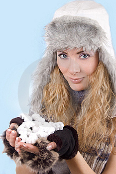 Woman In Winter Hat And Gloves With Snow Royalty Free Stock Photography - Image: 22531417