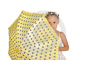 Nice Little Lady With Umbrella Isolated Royalty Free Stock Image - Image: 22543676