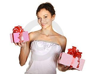 Smiling Woman Holding Gift Stock Photo - Image: 22548840