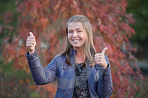 Pretty Positive Girl With Thumbs Up Stock Images - Image: 22554784