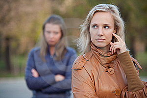 Girlfriend For A Walk In The Autumn Park Royalty Free Stock Photography - Image: 22554787