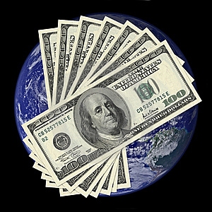 One Hundred Dollar Bills On Earth Background Royalty Free Stock Photography - Image: 22554837