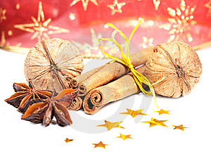 Cinnamon, Anise And  Walnuts Royalty Free Stock Photos - Image: 22570338