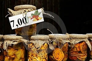 Bottled Cheeses In Oil Vith Vegetables And Spices Royalty Free Stock Image - Image: 22575386
