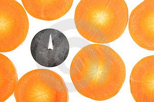 Drawing Pin Among Carrot Slices Stock Photography - Image: 22577102