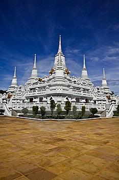 White Pagodas At Wat Asokaram, Samut Prakan Royalty Free Stock Photography - Image: 22582217