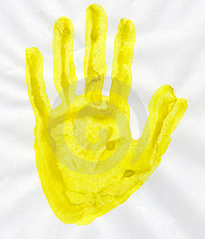 Yellow Stamp Handprint Royalty Free Stock Image - Image: 22584316