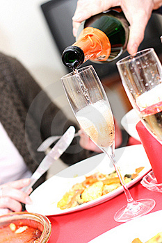 Pouring Champagne Into A Glass Stock Photos - Image: 22592993