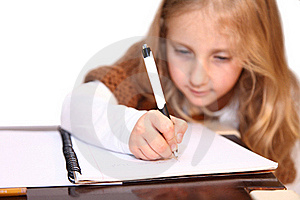 Girl Makes Lessons Stock Photo - Image: 22593400
