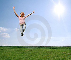 jumping woman Royalty Free Stock Photos