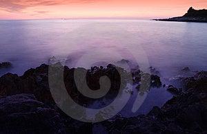 Tiro Longo Do Mar Da Noite Da Exposição Fotografia de Stock Royalty Free - Imagem: 2266037