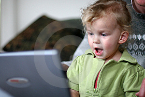 Baby at a Computer Stock Photography
