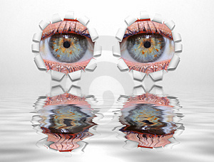 Eyes Through Holes Stock Image - Image: 2268141