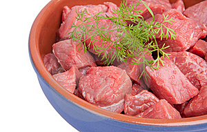 Raw Sliced Meat With Dill  In A Bowl Royalty Free Stock Photos - Image: 22604988