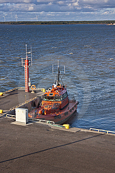 Orange Pilot Boat In Harbour Royalty Free Stock Image - Image: 22623496