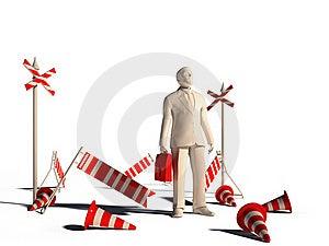 3d Leader Man Broken Barrier Stock Photo - Image: 22630010