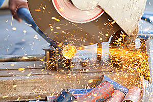 The Smith Are Cutting Steel Stock Image - Image: 22634221