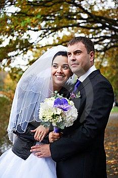 Joyful Bride And Groom In Autumn Park Stock Photography - Image: 22635842