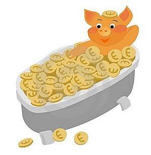 PIG TAKING GOLD BATH Royalty Free Stock Photography - Image: 22639047