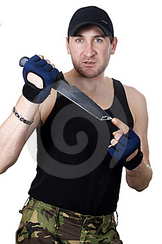 Soldier With Knife Stock Image - Image: 22647571