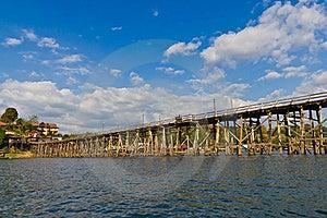 Longest Wooden Bridge In Thailand Royalty Free Stock Photos - Image: 22665808