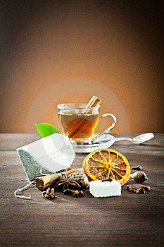 Aromatic Spices And Tea Bag Royalty Free Stock Photography - Image: 22669227