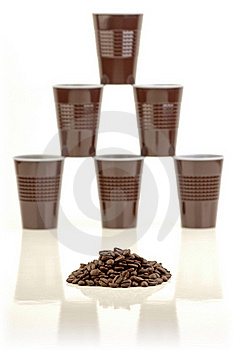 Coffee Beans And Plastic Cups. Royalty Free Stock Images - Image: 22669589