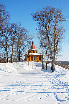 Wooden Arbor In Park In The Winter Royalty Free Stock Photos - Image: 22671368