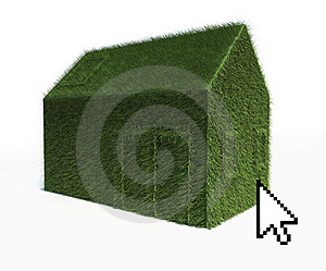 Cursor On Eco Green House Isolated On White Royalty Free Stock Photos - Image: 22673468
