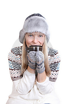 Beautifu Woman In Fur Hat With A Cup Stock Image - Image: 22679731