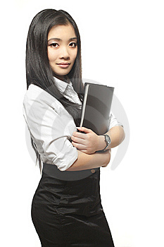 Beautiful Sexy Asian Businesswoman With Documents Royalty Free Stock Photo - Image: 22691465