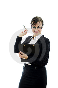 Business Woman In Glasses Pointing At Copyspace Stock Image - Image: 22698201