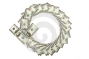Arrow Of Dollars On White Stock Photography - Image: 22708532