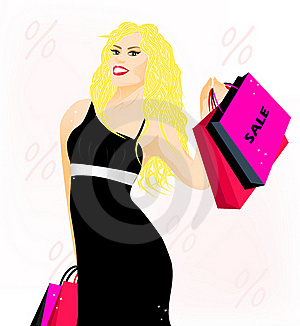 Lovely Blonde Lady With Shopping Bags Stock Photo - Image: 22708930