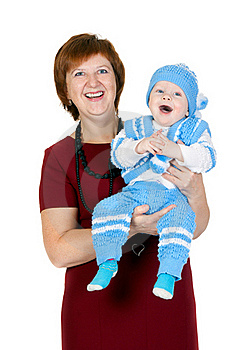 Grandmother With Her Grandson In Her Arms Royalty Free Stock Photography - Image: 22716597