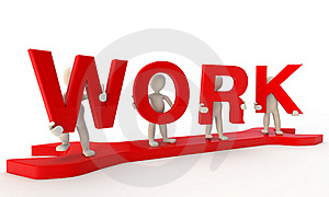 3D Humans Forming Red Work Word Stock Images - Image: 22720974