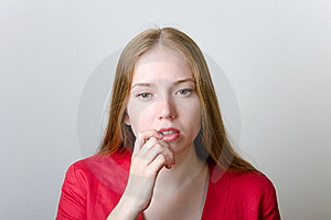 Pensive Woman In Red Royalty Free Stock Images - Image: 22746219