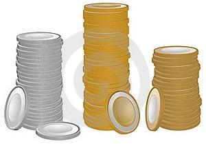 Oro Y Monedas De Plata Fotografía de archivo - Imagen: 22752312