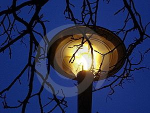 Yellow Lamp On Nights Sky Stock Photo - Image: 22757900