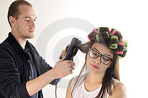 Stylist Man Working With Model Hair Stock Photos - Image: 22760703