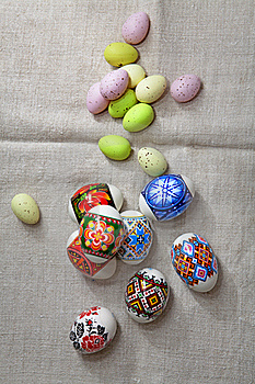 Easter Eggs On Linen Fabric Stock Photography - Image: 22773062