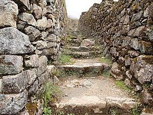 Inca Trail Between Stone Walls Royalty Free Stock Photos - Image: 22775728
