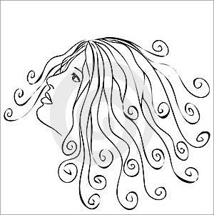 Woman With Swirls Hair Stock Photo - Image: 22797380