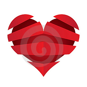 3D Vector Heart With Banners Stripes Object Royalty Free Stock Photo - Image: 22805695