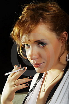 Woman With Cigarette Royalty Free Stock Photography - Image: 22812467