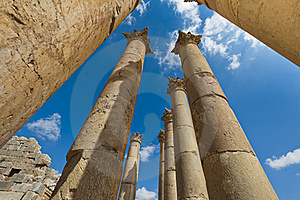 Columns From The Temple Of Artemis, Jerash Royalty Free Stock Image - Image: 22812486
