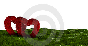 Two Fluffy Hearts On A Green Field Royalty Free Stock Images - Image: 22812719