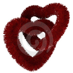 Two Fluffy Red Hearts Royalty Free Stock Image - Image: 22812746